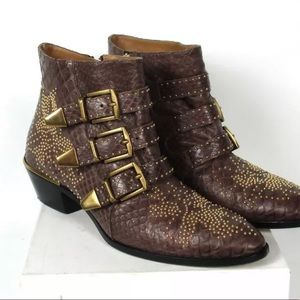 Chloe Susanna Python Brown Leather Boots 37